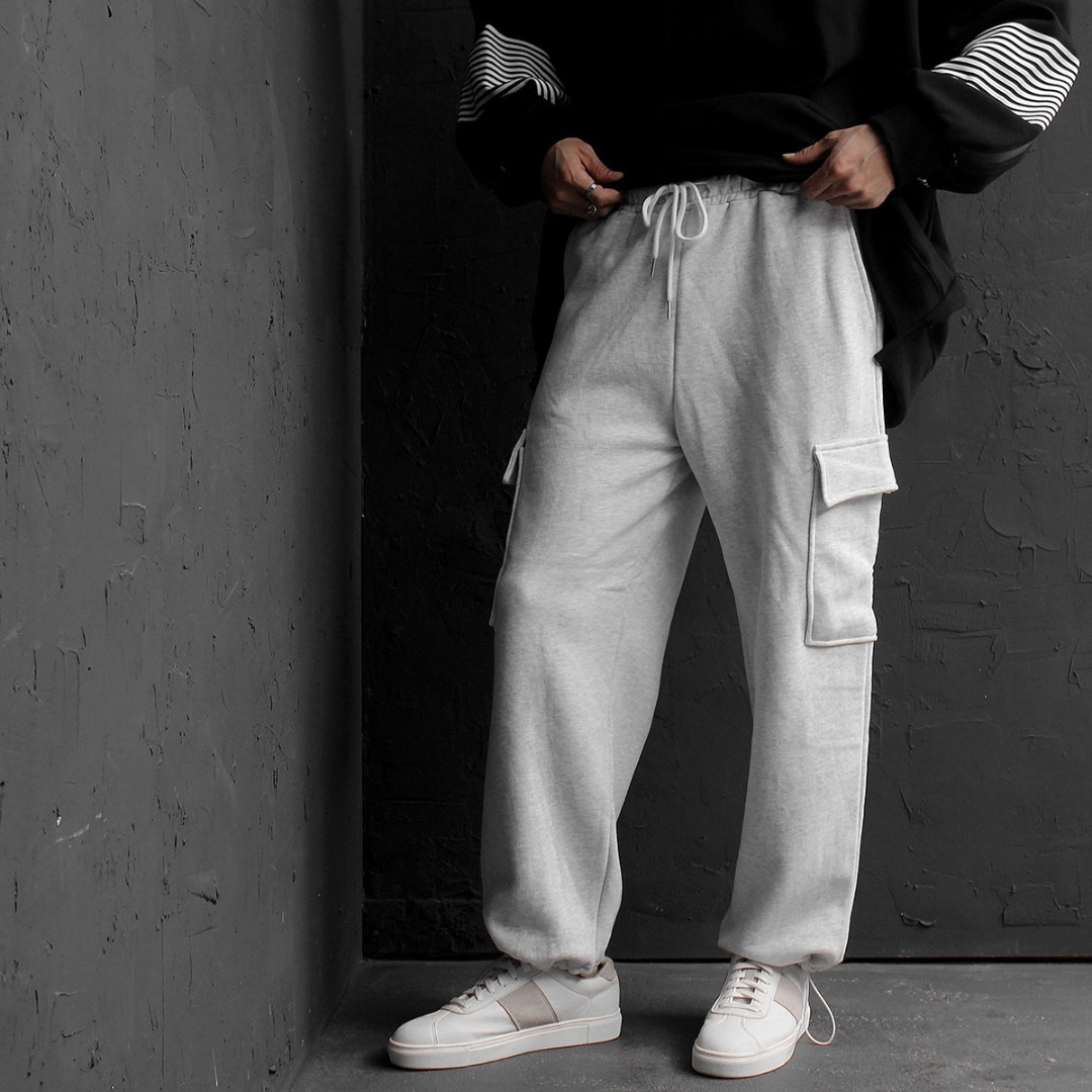 Drawstring Hem Cargo Pocket Baggy Sweatpants 733