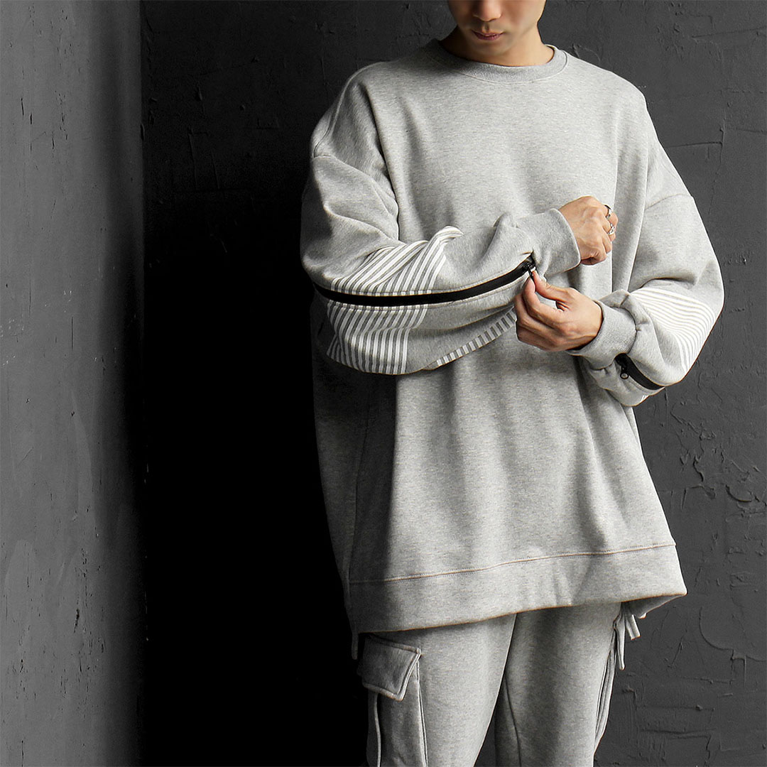 Oversized Stripe Sleeve Zipper Sweatshirt 724