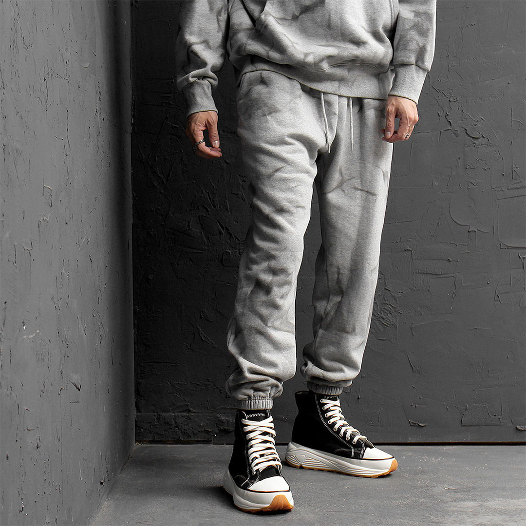Crack Washing Fleecy Interior Joggers 737
