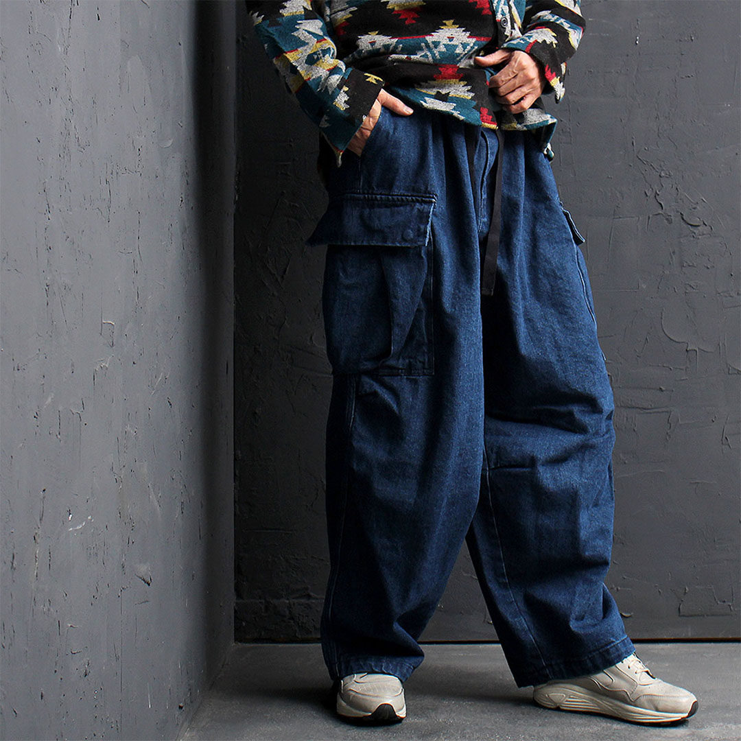 Oversized Wide Denim Cargo Pocket Balloon Pants 769