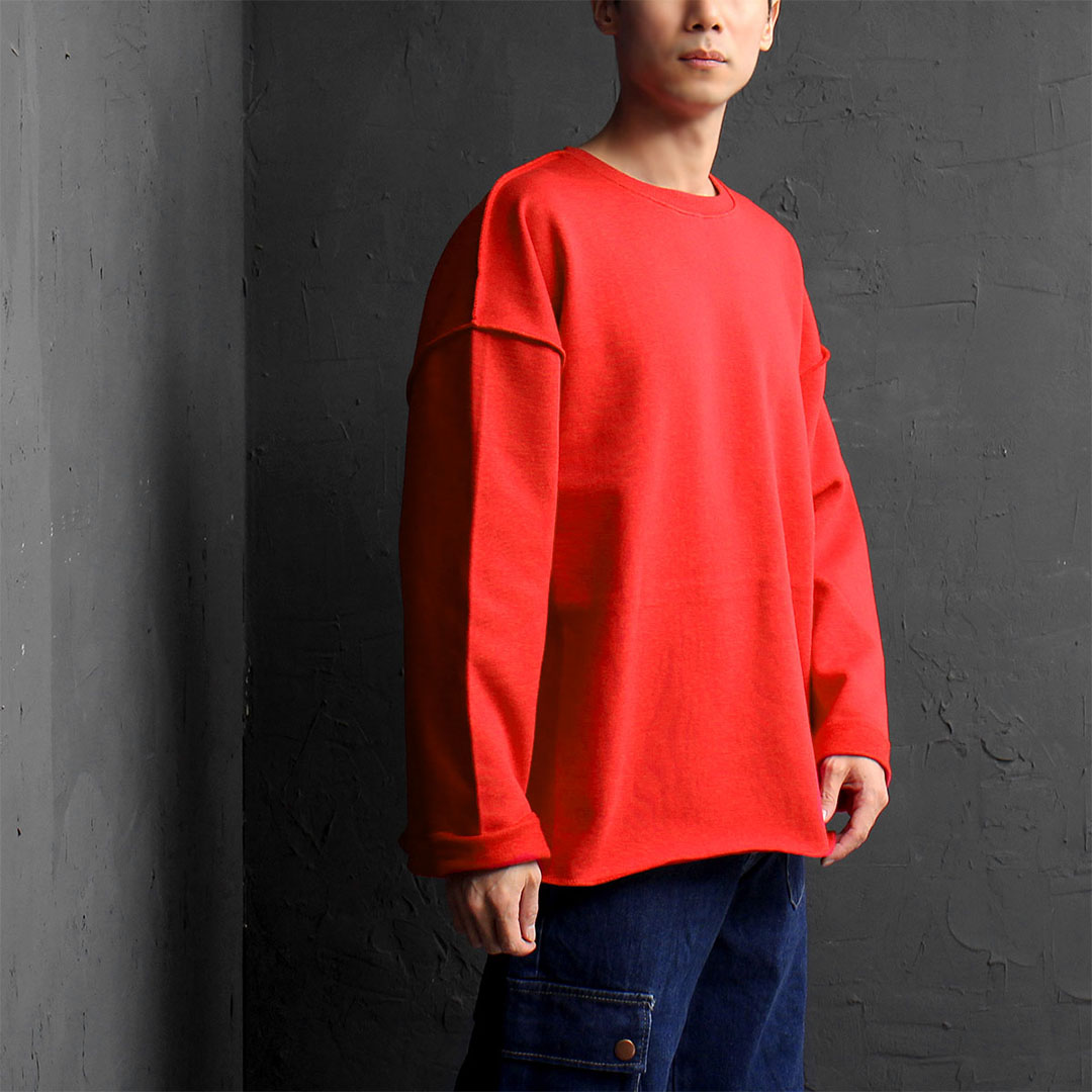 Oversized Loose Fit Reversed Styling Sweatshirt 776