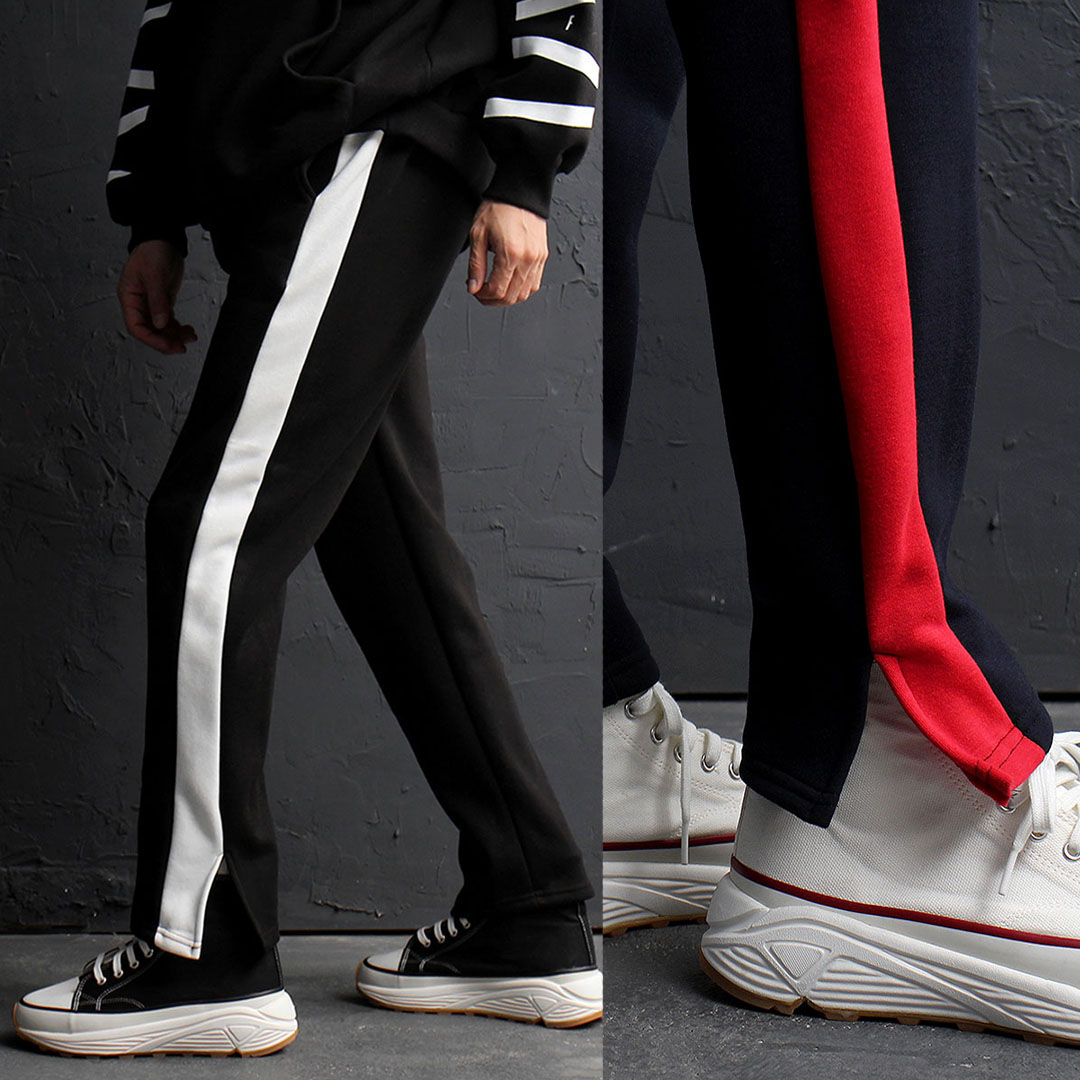 Contrast Side Line Split Hem Interior Fleecy Sweatpants 782