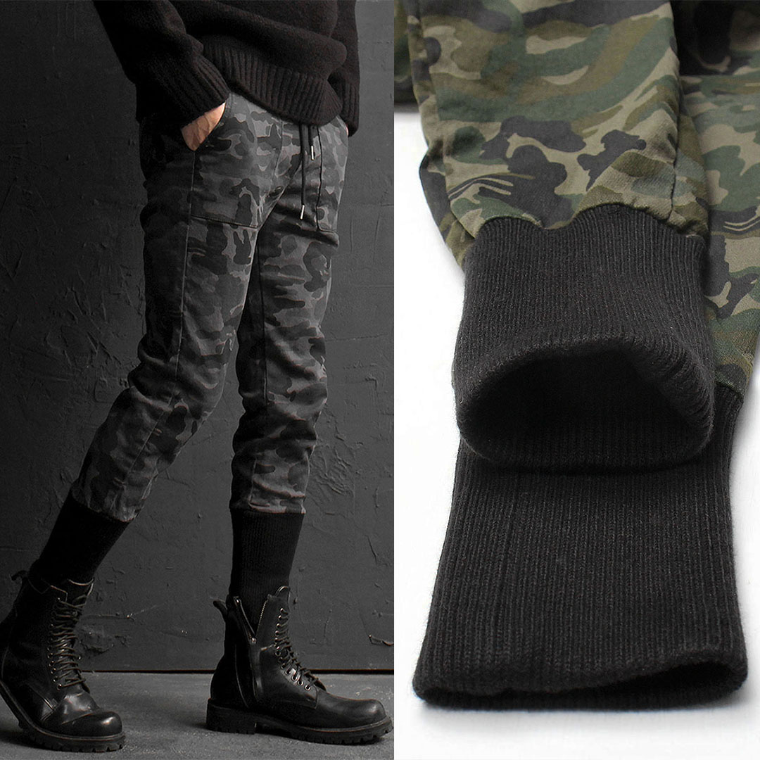 Slim Fit Vintage Washed Long Ribbed Hem Camouflage Joggers 785