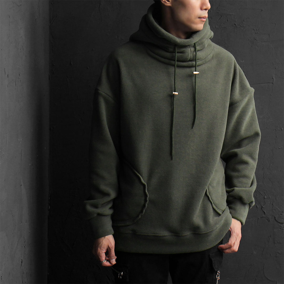 Double Layered High Turtle Neck Fleece Hoodie 798
