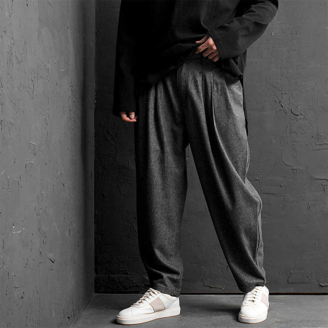 Wool Wide Pleated Baggy Pants 801