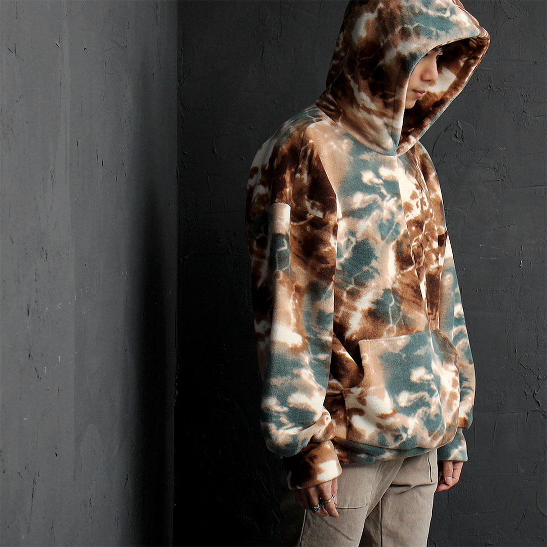 Loose Fit Camouflage Fleece Hoodie 811