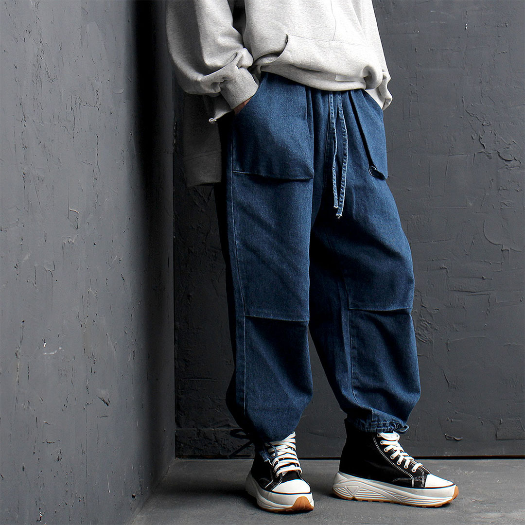 Denim Elastic Waistband Wide Pants 820