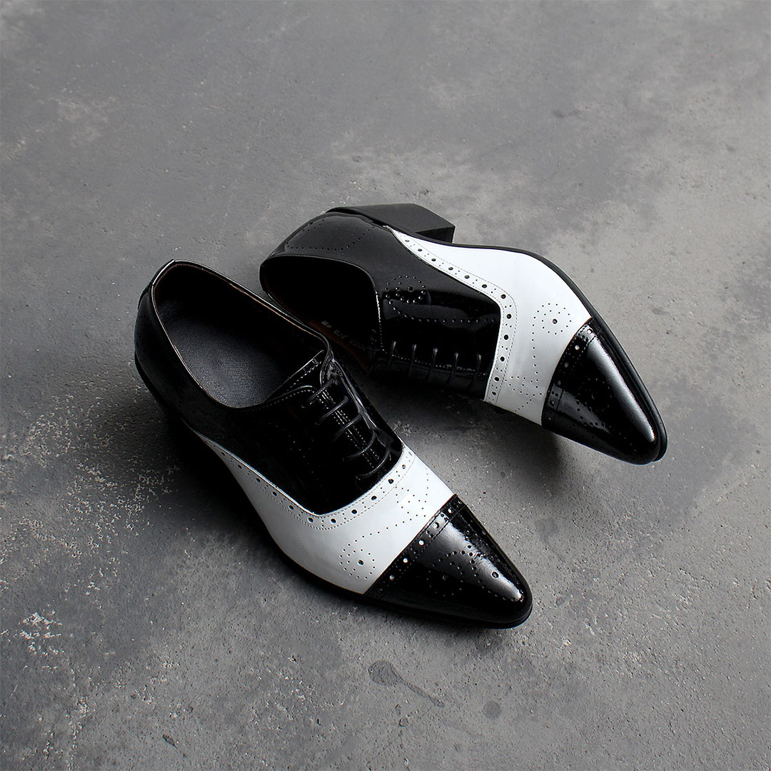 7cm High Heel Black White Handmade Leather Shoes 849