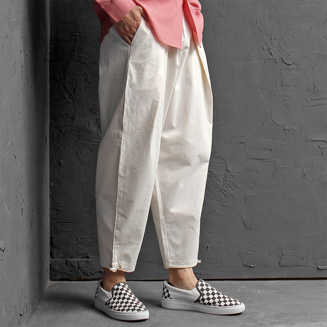 Elastic Waistband Drawstring Hem Drop Crotch Pants 451