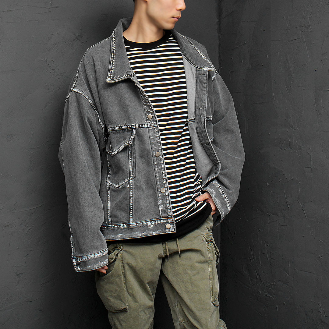 Vintage Line Painting Over-sized Denim Jacket 893