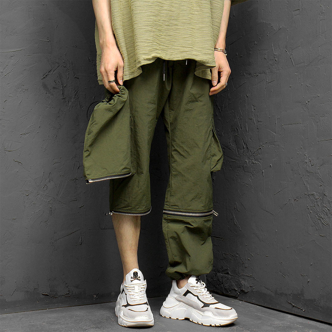 Removable Zippered 4/5 Leg Cargo Pants 953