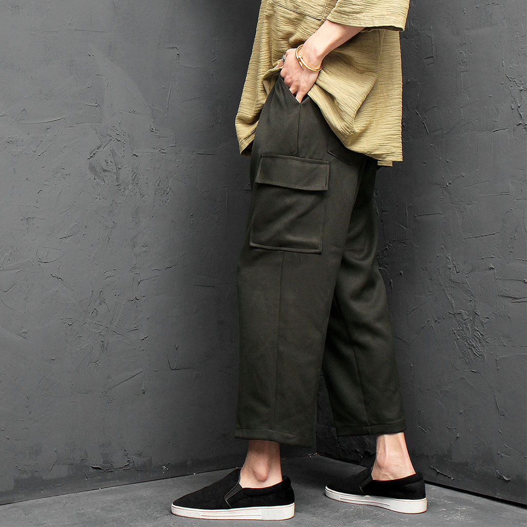 Elastic Waistband Wide Slacks Pants 965