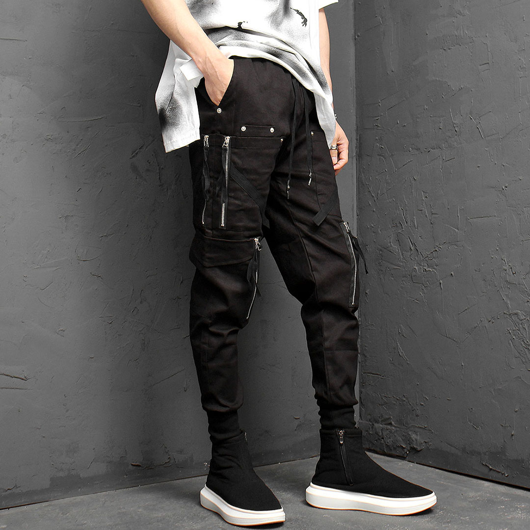 Double Zipper Cargo Pocket Jogger Pants 969