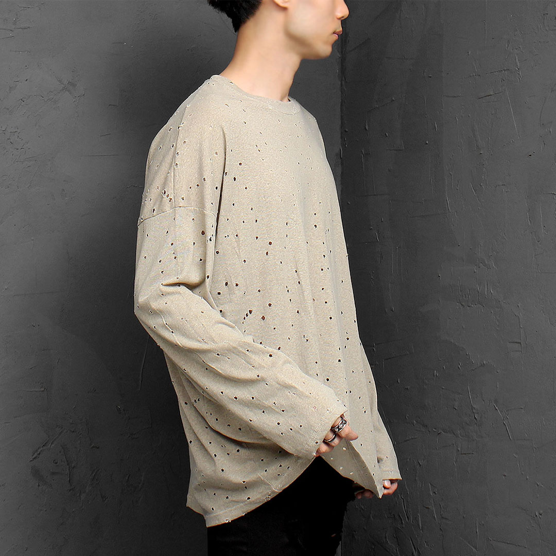 Vintage Washed Perforated Long Sleeve Tee 984