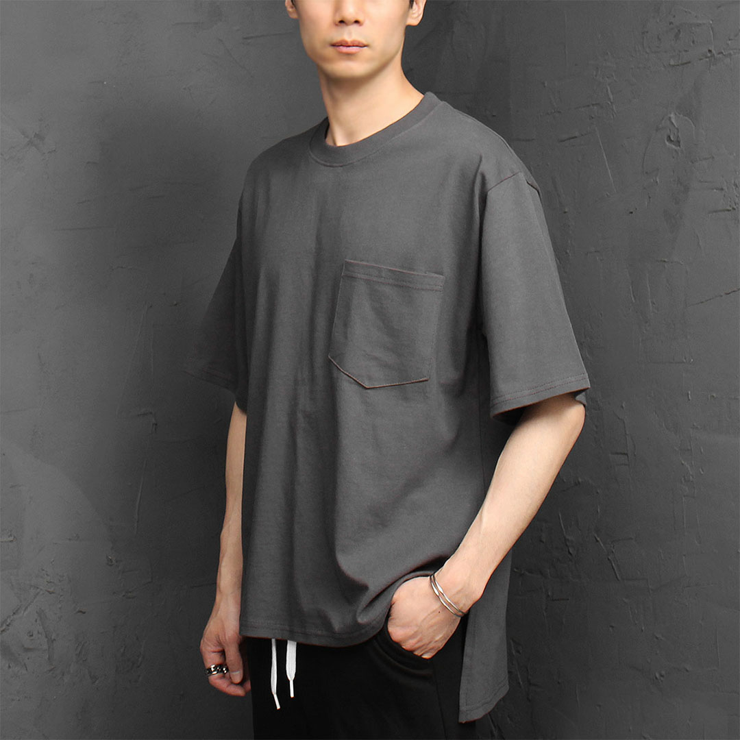 Loose Fit Chest Pocket Split Side Tee 995