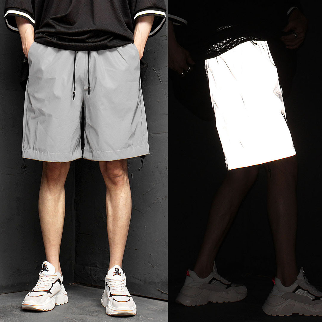 Loose Fit Reflective Short Sweatpants 1027