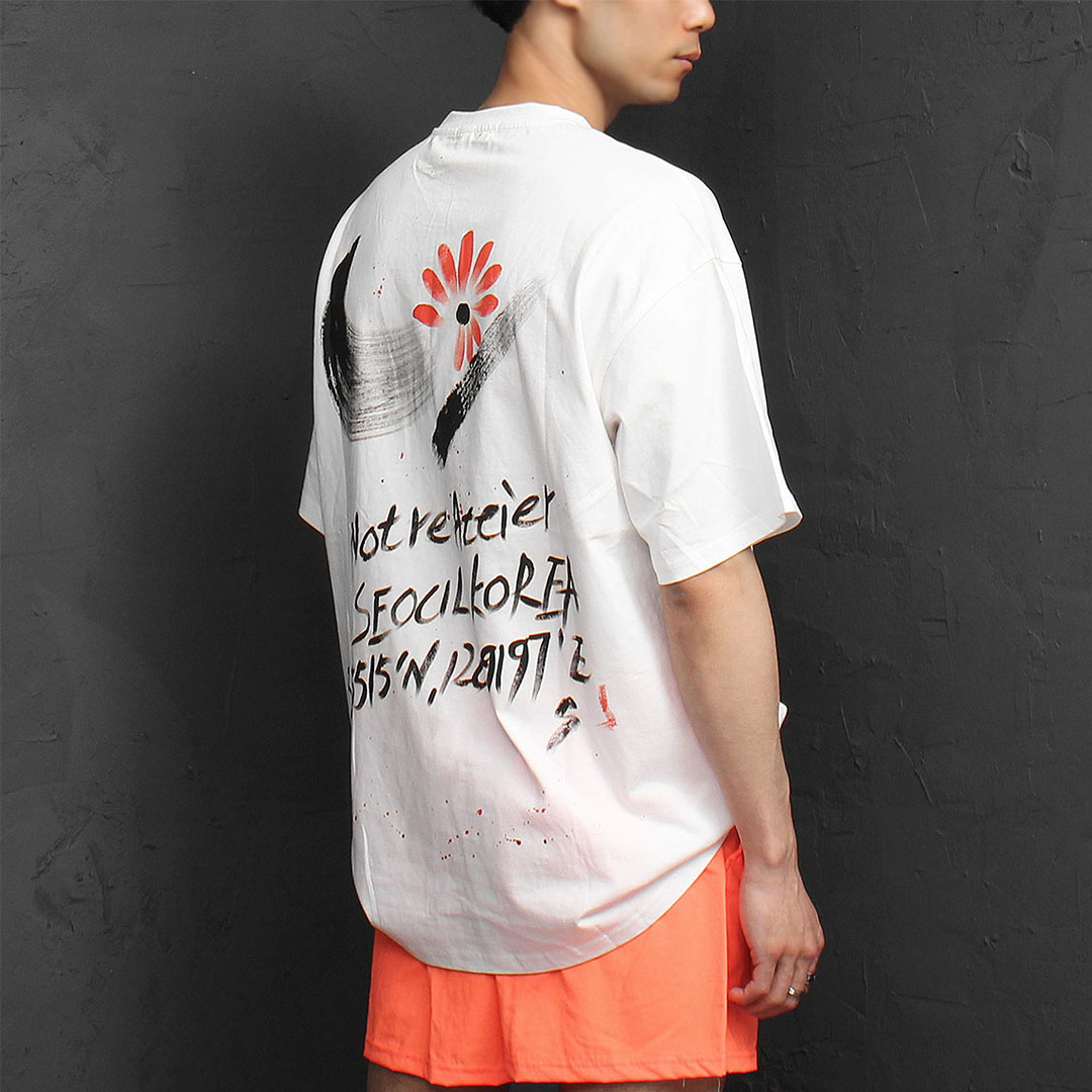 Hand Writing Oversized Loose Fit Short Sleeve Tee 1080