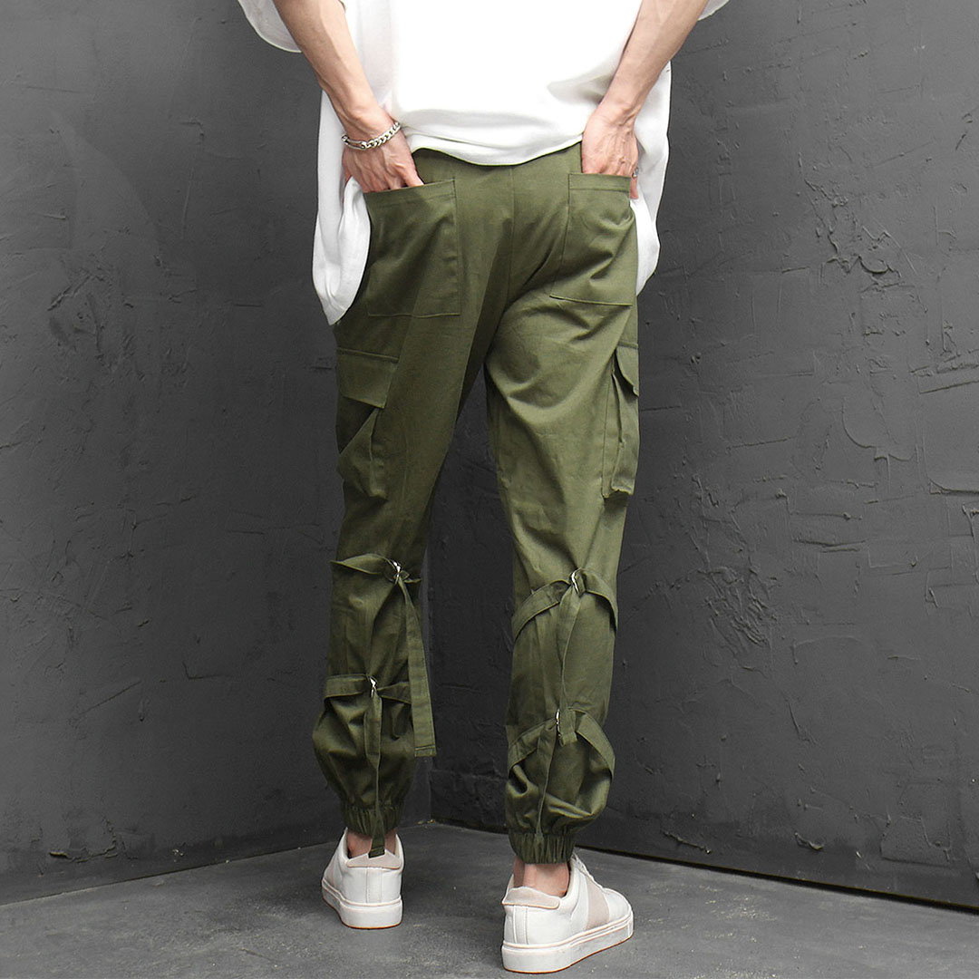 Double Calf Strap Cargo Jogger Pants 1081