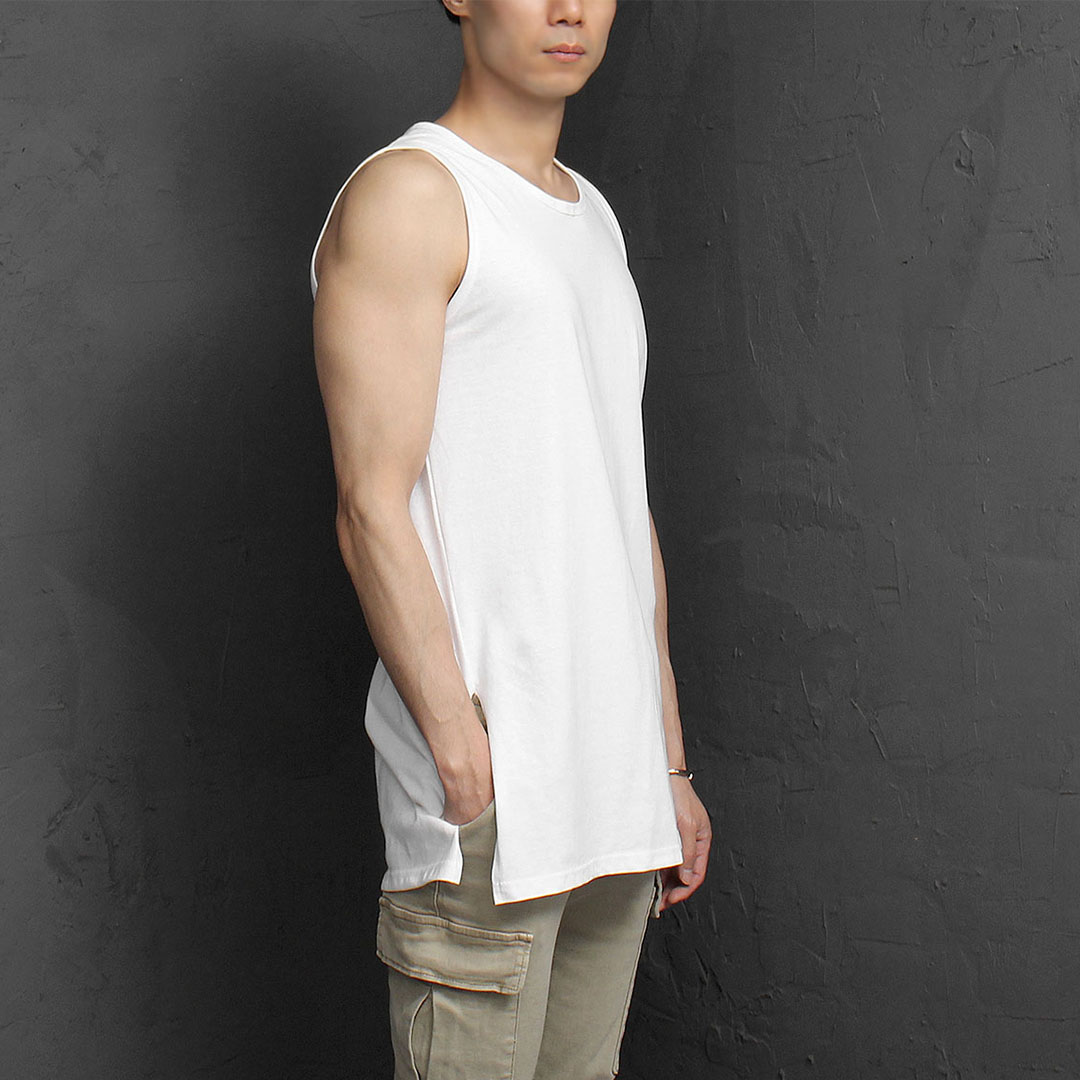 Slim Fit Split Side Sleeveless Tee 1105