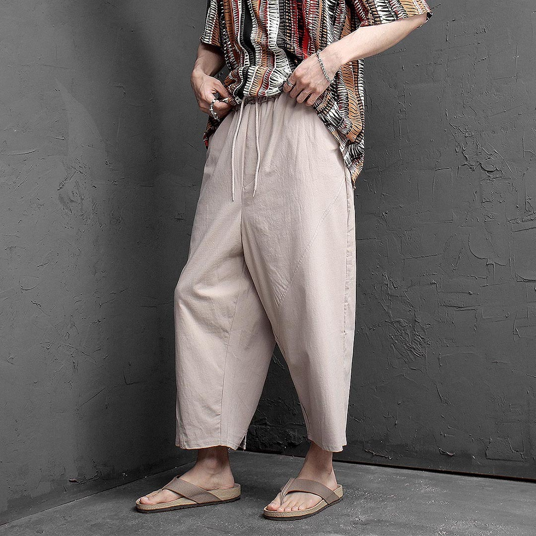 Oversized Loose Fit Stretchable Wide Linen Pants 1272