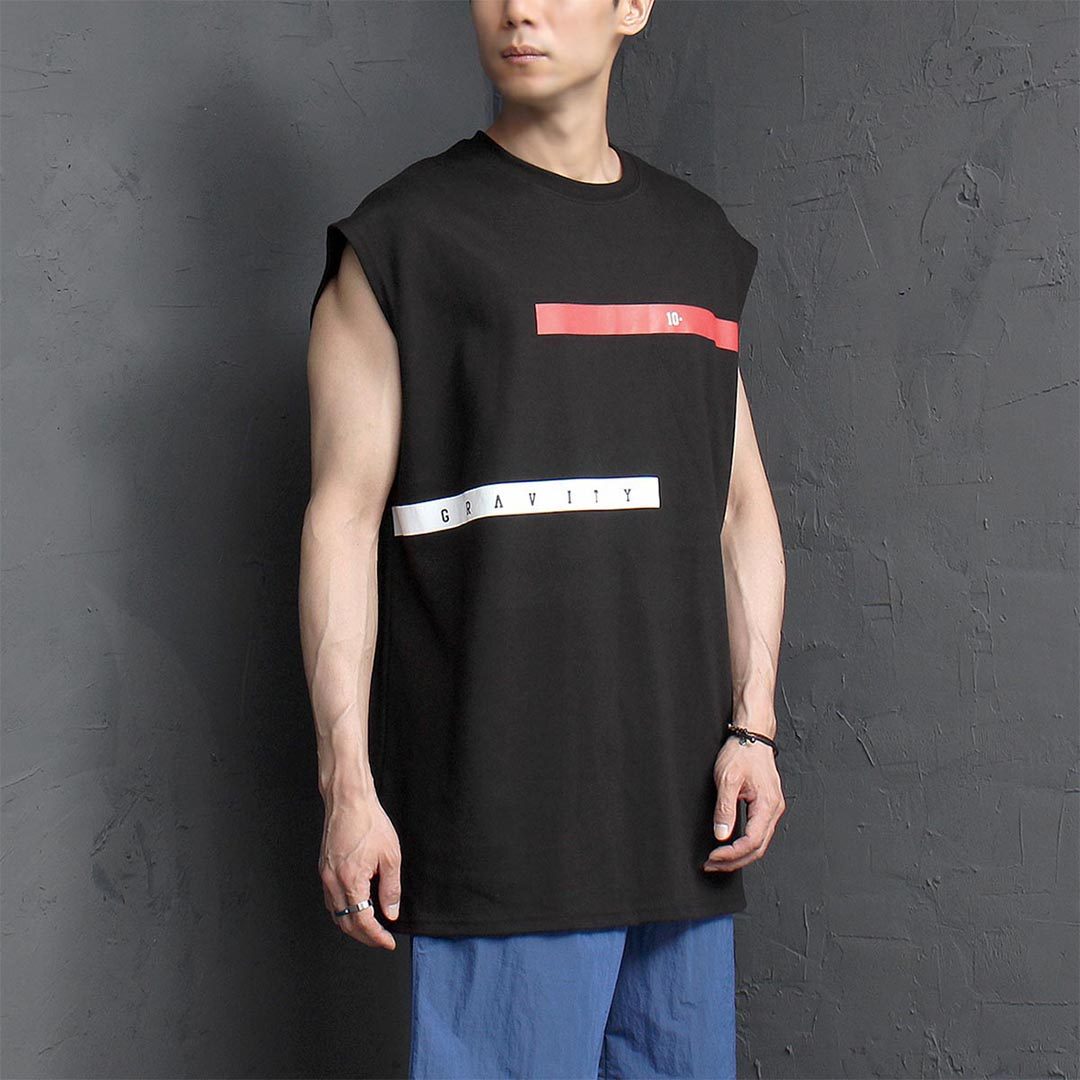 Line Graphic Logo Printing Sleeveless Tee 1259