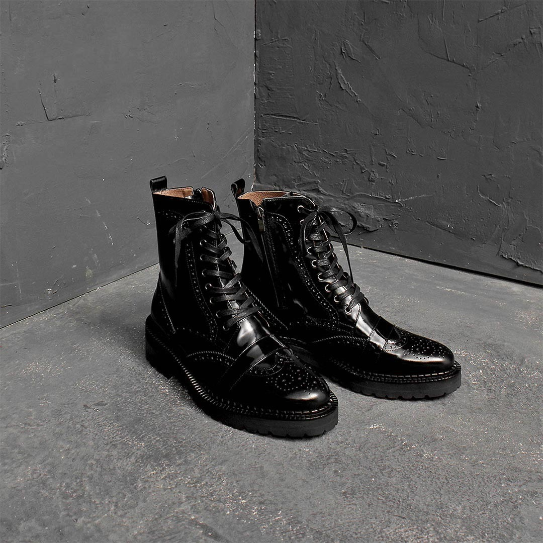 Handmade High Top Perforation Leather Boots 1366