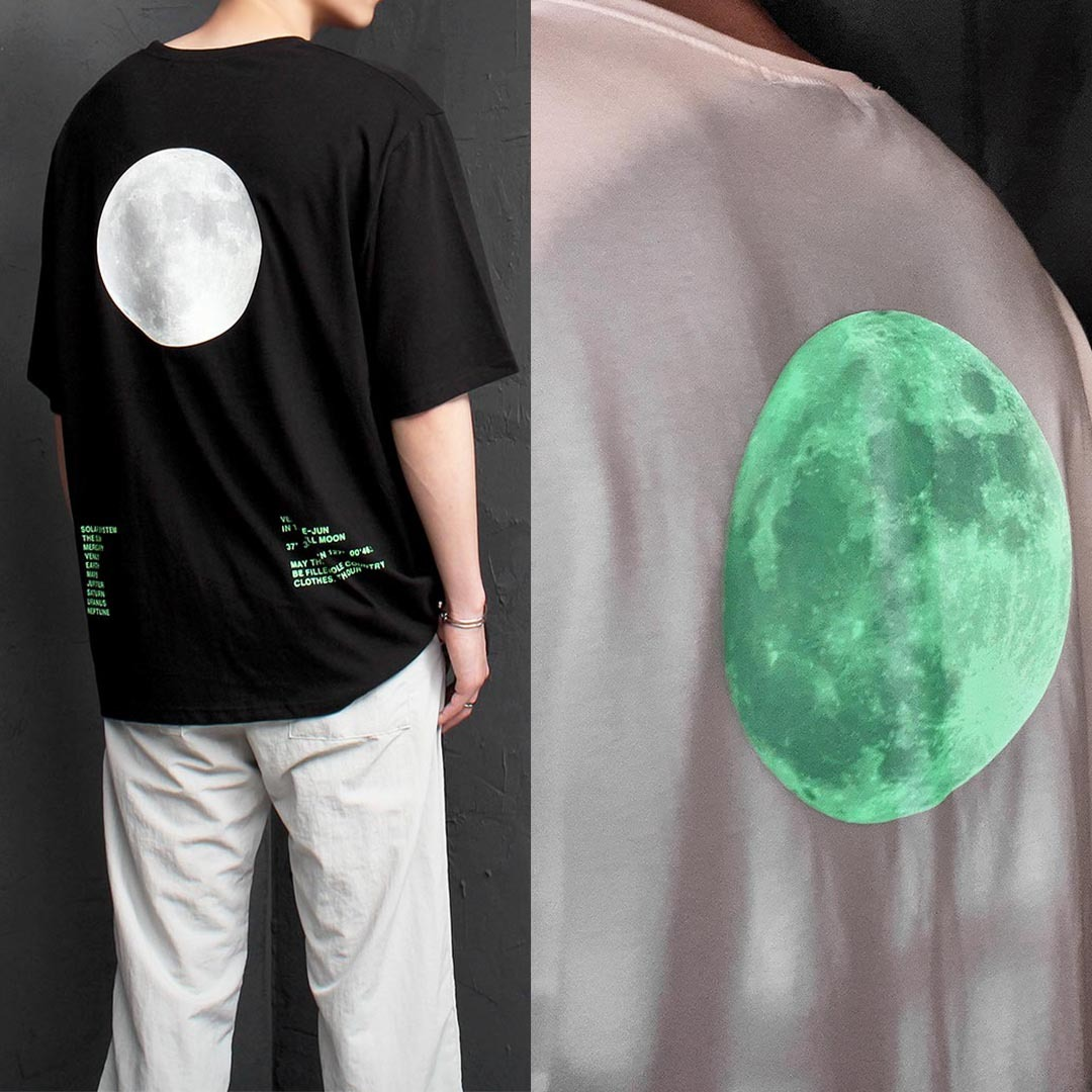 Oversized Fit Luminous Moon Printing Tee 1321