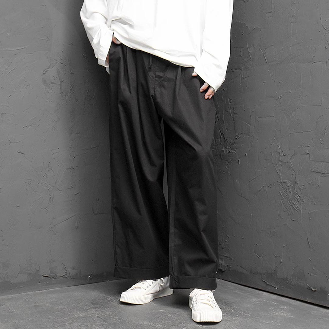 Elastic Waistband Low Crotch Wide Baggy Pants 1342