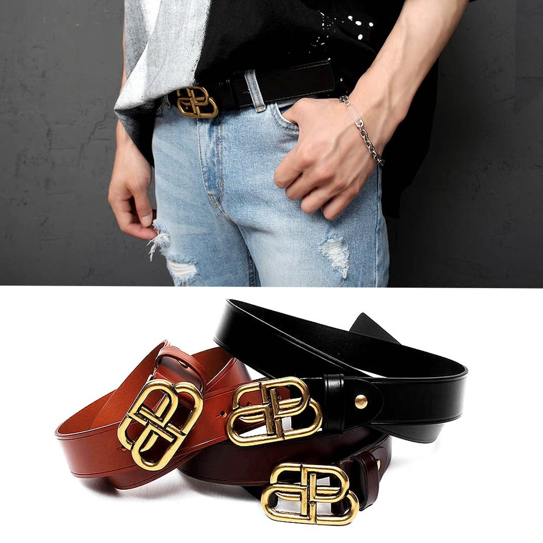 Gold Tone Buckle Cowhide Leather Belt 1325