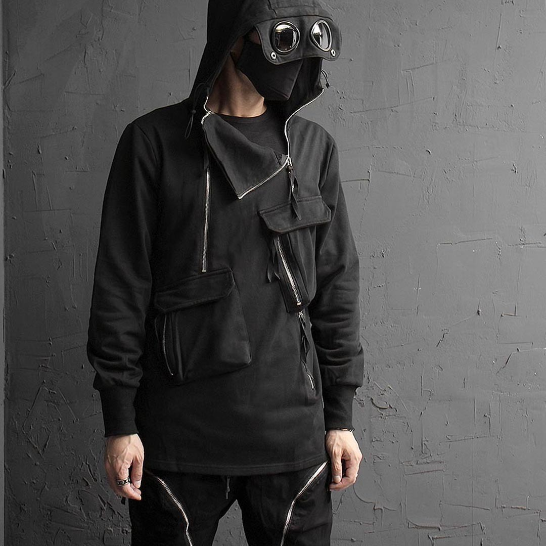 Multi Pocket Double Zipper Goggle Hoodie 1406