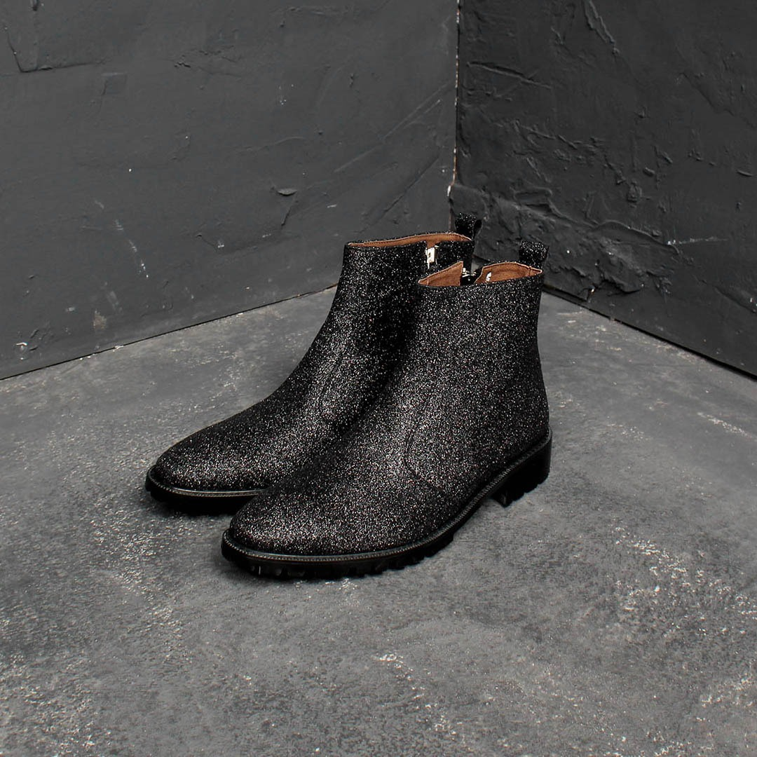 Glitter Side Zipper Handmade Leather Ankle Boots 1399