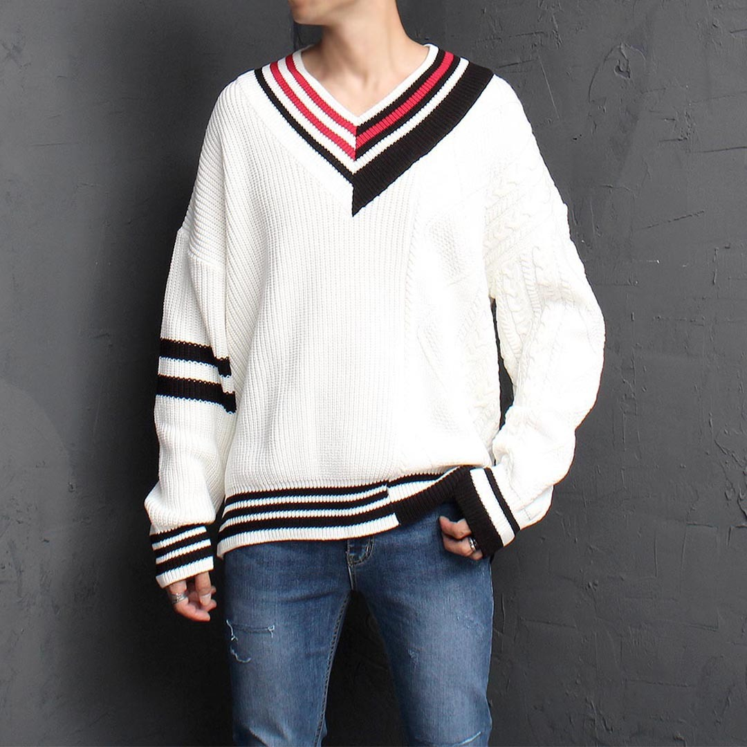 Unbalanced Contrast V Neck Knit Jumper 1469
