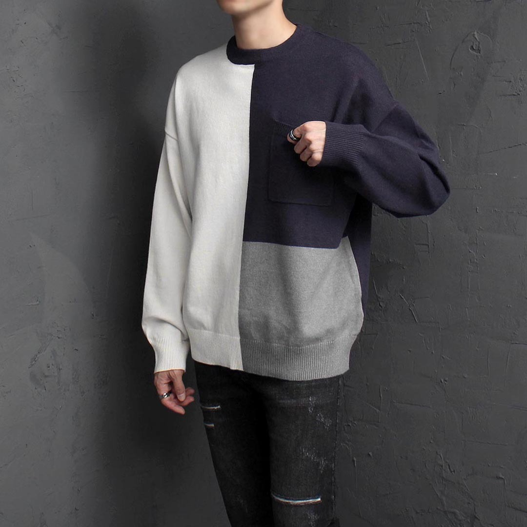 Loose Fit Contrast Color Pocket Wool Knit Jumper 1567