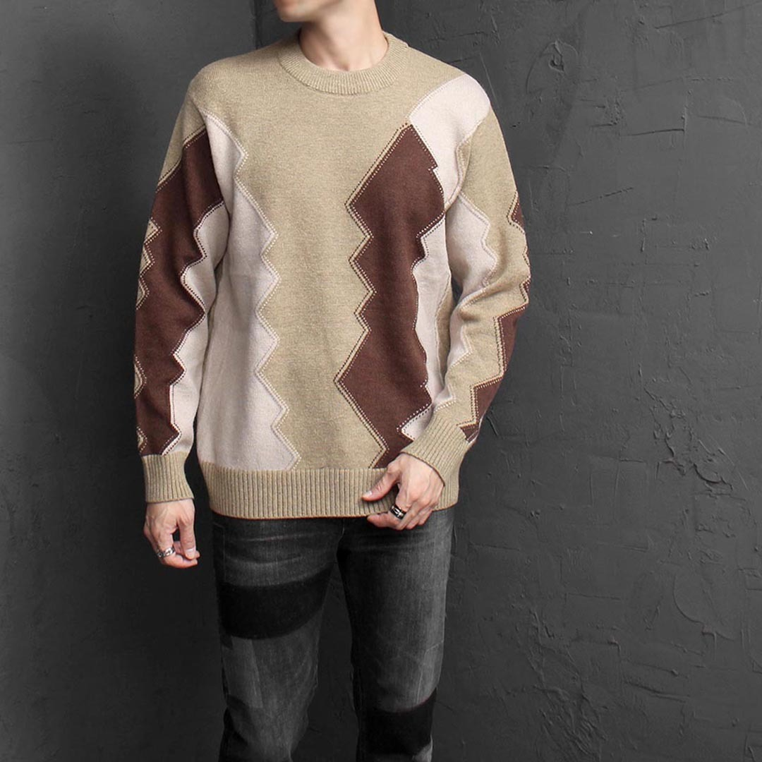 Zig Zag Contrast Color Pocket Wool Knit Jumper 1570