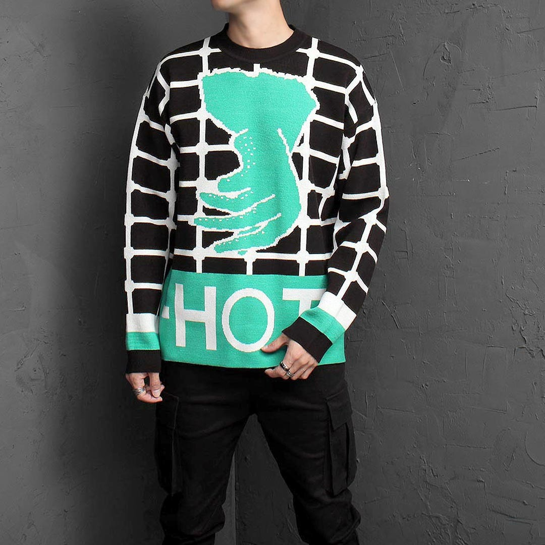 Loose Fit Hand Logo Jacquard Knit Jumper 1543