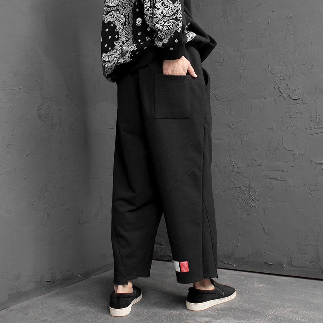 Loose Fit Unbalanced Line Wide Sweatpants 1590