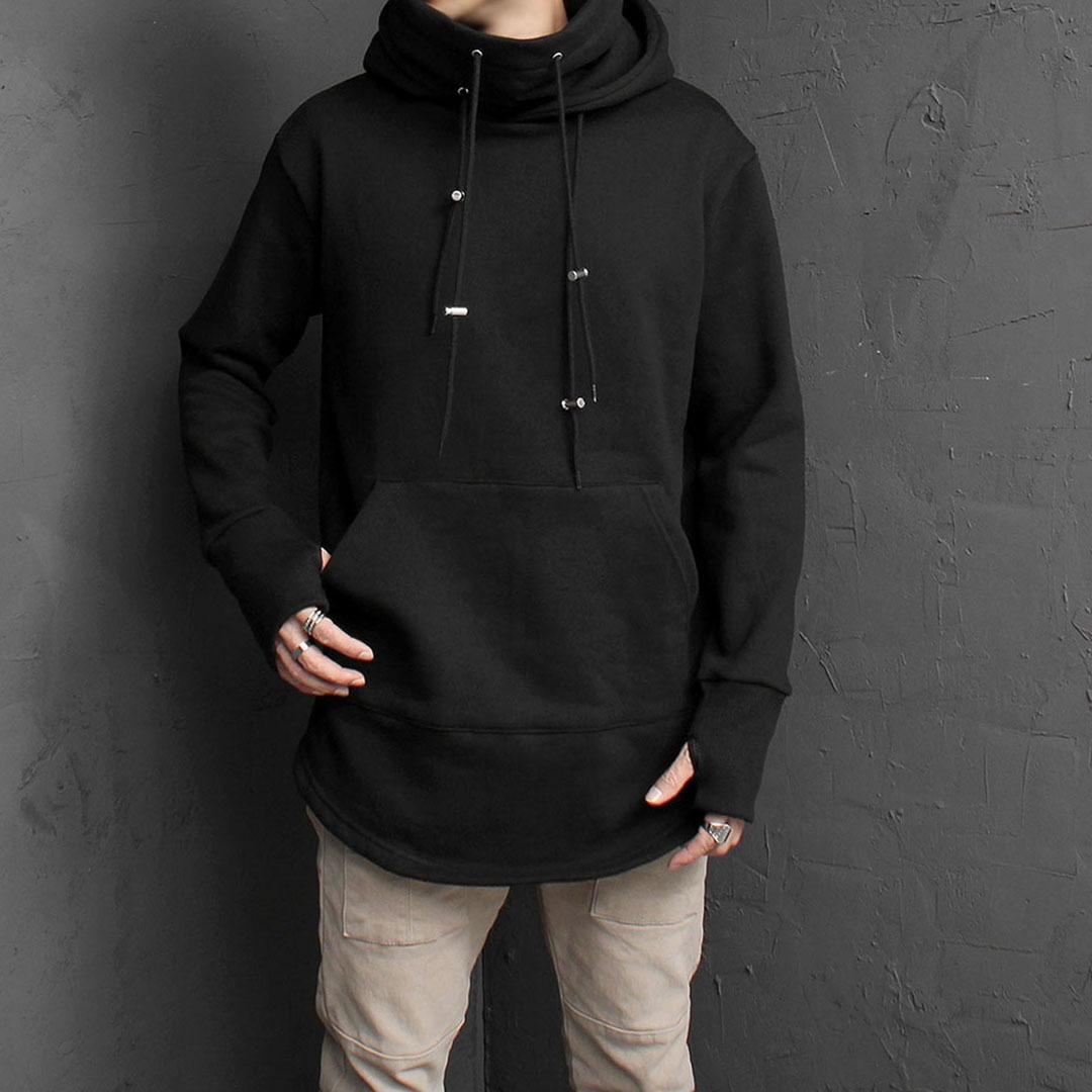 High Turtle Neck Double Layered Handwarmer Hoodie 1619