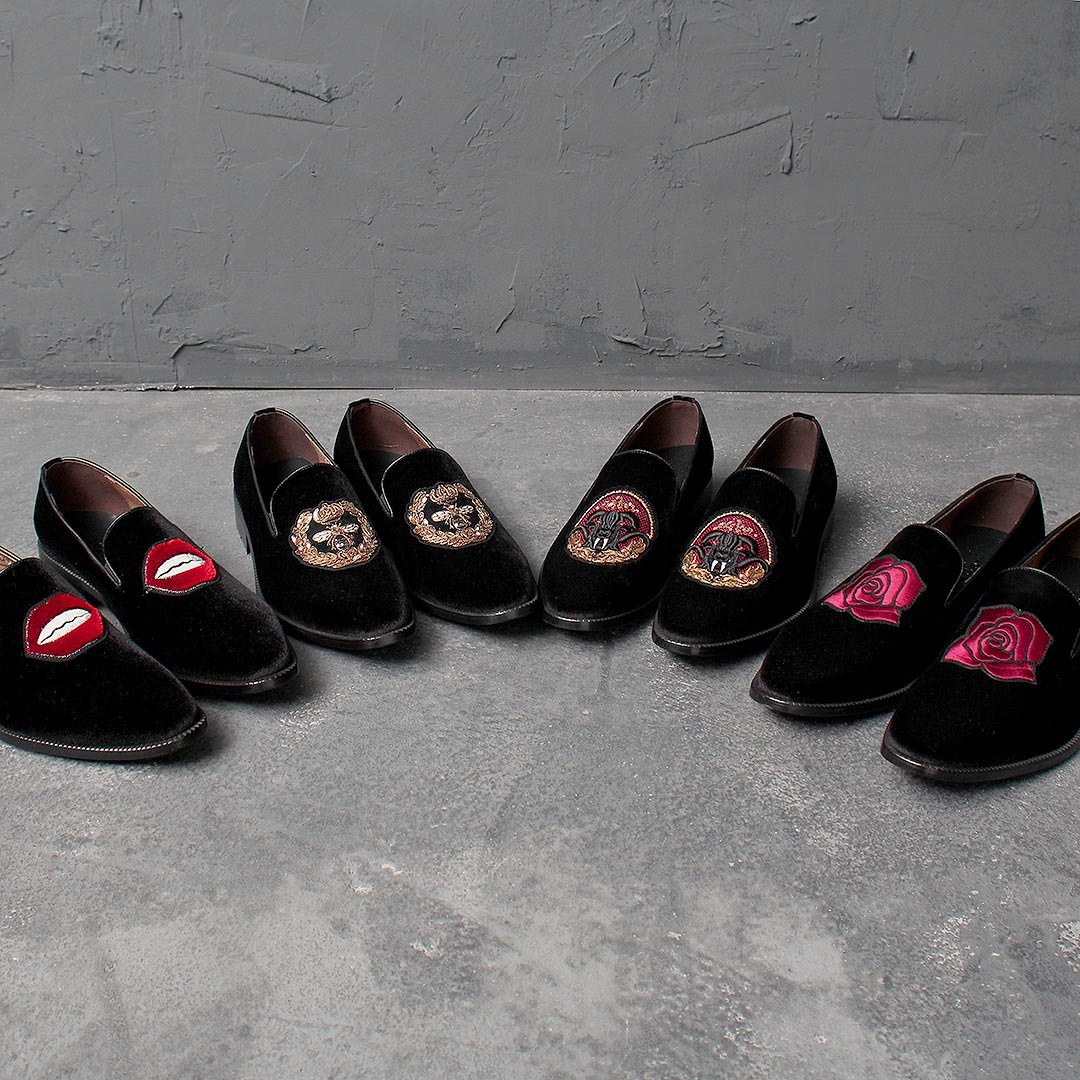 Handmade Velvet Embroidery Leather Loafer 1720