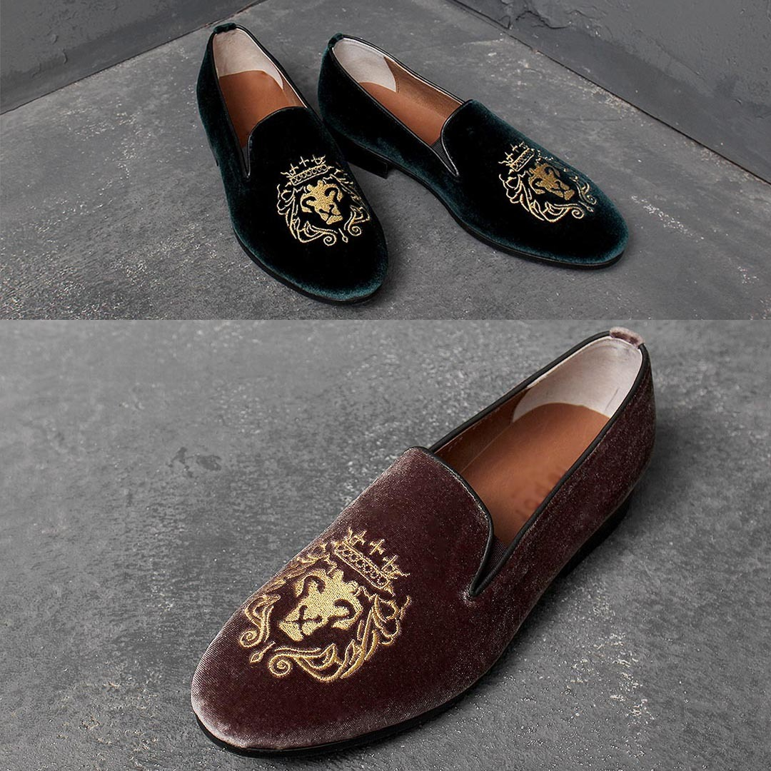 Handmade Velvet Embroidery Leather Loafer 1763