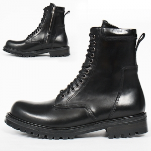 Black Leather Side Zip Up High Top Boots R13
