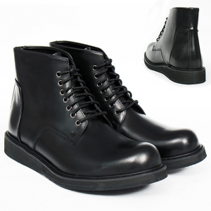 High Top Lace Up Round Toe Black Leather Boots R7
