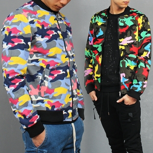 Military Look Vivid Color Camouflage Blouson Jacket