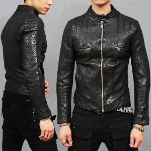 China Neck Quilted Paneling Lambskin Leather Biker Jacket