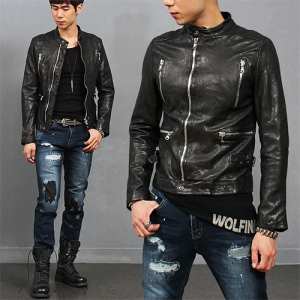 China Neck Zipper Pocket Lambskin Leather Biker Jacket