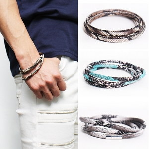 Snake Pattern Triple Strap Leather Bracelet 56