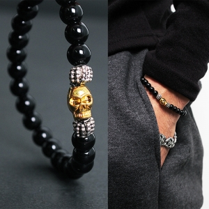 Skull Head Small Beaded Bracelet 48