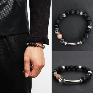 Black Beaded Steel Bar Bracelet 40