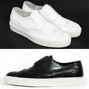 Handmade Perforated Brogue Leather Bandage Slip On Sneakers 5517