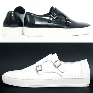 Handmade Genuine Leather Double Monk Strap Slip On Sneakers 5511