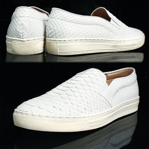 White Crocodile Skin Pattern Leather Slip ons Loafers 5335